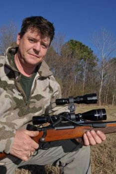Milton Turnage invented an LED device that clips on a rifle's scope that helps with long-distance shooting of hogs at night.