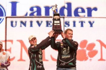 Andrew Helms (left) and Josh Whittaker of UNC-Charlotte won the Bassmaster College Classic title on Sunday on South Carolina's Lake Keowee.