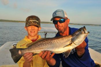 Live shrimp fished under a cork have been knocking out a lot of big speckled trout in the New River.