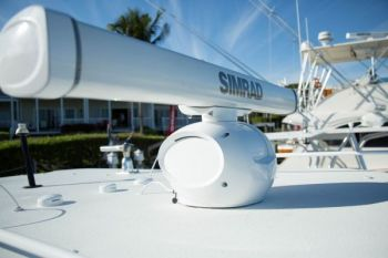 Simrad's new HALO pulse compression radar scanners feature curved pedestals and a range of about 20 feet to 72 nautical miles.