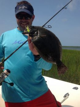 Fishermen are catching plenty of flounder in the marshes behind Cape Lookout and Harkers Island.