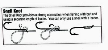 The Snell Knot provides a strong connection when fishing with bait and using a separate length of leader. You can only use a snell hook with a leader.