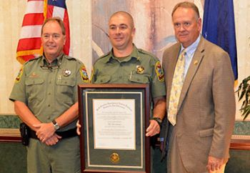Col. Chisholm Frampton, PFC Stewart, and SCDNR director Alvin Taylor