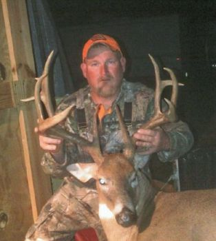 Steve Burnette dropped a 160 5/8-inch Caswell County 12-point buck after it checked scrapes around a field on a 52-acre farm.