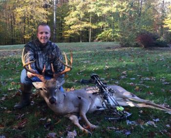 Peyton Smith downed this Rockingham County buck with the help of two scent bombs and a Rage Hypodermic broadhead.