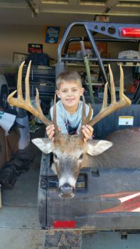 Hunter Moss was hunting with his dad when he killed this massive deer, which came into shooting range after his dad grunted a few times.