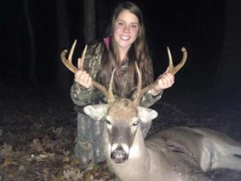 Stacey Richardson killed this wide-racked buck in Guilford County on her first ever solo hunt.