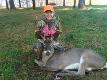 Brooke Throckmorton of Person County killed her first buck on Nov 25th while on a solo hunt. The buck's rack measured 130-inches.