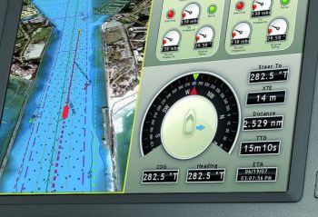 The screen on this Furuno Navnet unit shows that the boat is right on its course line as the heading and course over ground numbers match.