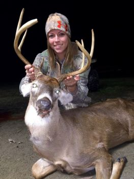 Kristina Carpenter killed this 10-point buck with an 80-yard shot after beating her boyfriend at Rock-Paper-Scissors to determine who would shoot.
