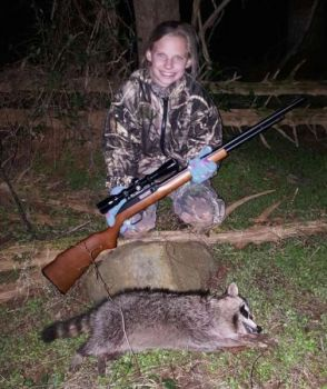 10-year-old Tyler Beller recently went on her first raccoon hunt. She's hooked!