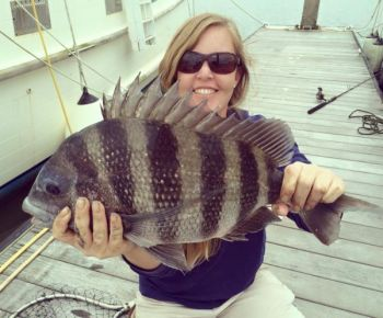 Dar Darcy shows off a nice sheepshead that she landed with a net.