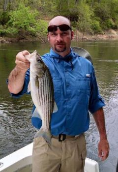 Fishermen in the Roanoke River can keep two stripers per day from March 1-April 30, only one of which may be longer than 27 inches, with an 18-inch size minimum and a 22- to 27-inch slot limit.