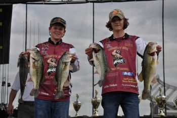 Bailey Cobb and Alex Maddox of Ninety Six High School won the two-man team high school division of the 2016 SCDNR Youth Bass Fishing Championship.