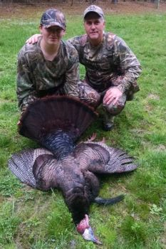 Christian Cole (L) killed his first turkey opening youth day, and it was a good one. Jerrell Seawell (R) did the calling.