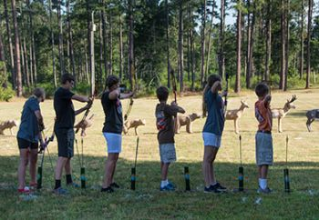 Youth archers line up at the range at Belfast Wildlife Management Area in Laurens County at the recent Fun Shoot. The event was part of the National Archery in Schools Program, a joint venture between the S.C. Department of Education and DNR.