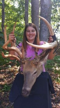 Carla Inman arrowed this trophy deer on Sept. 14 in Person County, and is one of the biggest deer killed in the Carolinas so far this year.