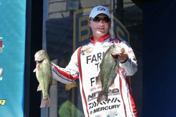 Bass pro Andy Montgomery catches his best jerkbait bass on the lower end of Lake Wylie, where the water is less stained.