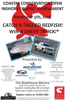 Catch a fish, win a Chevy truck! It's that easy in the Nov. 5 CCA NC Open Inshore Fishing Tournament.