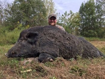 Nathan Coffey of Lynchburg, Va. killed this big boar at Cottonwood Plantation in Edgecombe County, N.C.