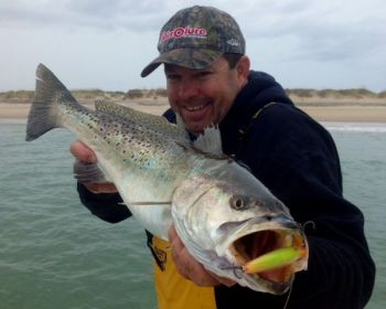 Guide Noah Lynk of Harkers Island caught this huge speckled trout in the waters close to his home base.