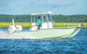 The Tideline 235 Hybrid is a catamaran that is at home offshore or in skinny water.