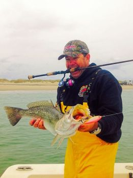 Noah Lynk targets big speckled trout around the Cape Lookout rock jetty during winter.
