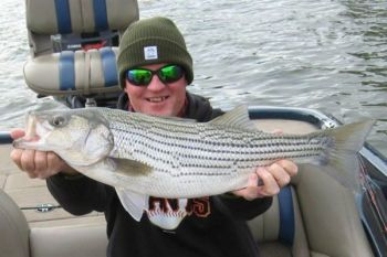 Deep jigging spoons is Tony Alexander's favorite way to catch January stripers on Lake Murray.