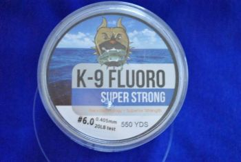 K-9 Fluorocarbon line comes in 550-yard spools in strengths between 6- and 20-pound test.