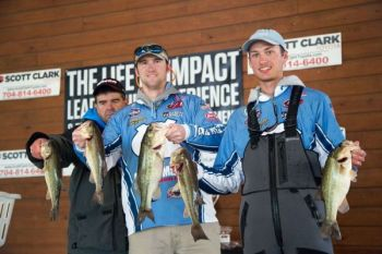 Matt Dale (left) and John Bitner (right), members of the UNC Chapel Hill Bass Fishing Team, know how to catch bass in cold weather.