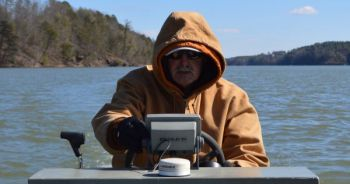 Don't waste your time blind-casting for wintertime bass. Take Glen Grindstaff's advice and idlearound a lot, using your fish finder to locate schools of baitfish, and then fish around them.