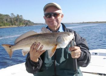 This nice redfish would be a keeper in North Carolina waters, but an inch or two too long to keep in South Carolina waters.