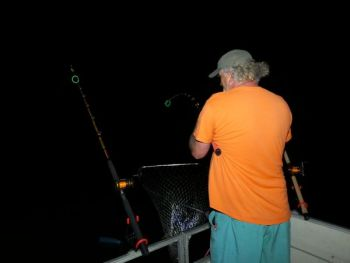 Angler Richie Wimmer uses inexpensive  glow bracelets when targeting big cats at night so he can detect strikes more quickly.