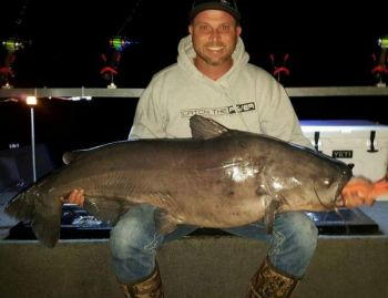 Paul Blackwell caught this 82-pound catfish at Santee, and both of his daughters also caught their personal bests on the same trip.