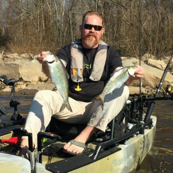 Jonathan Grady knocked off these two shad in the swift waters below Lock and Dam No. 1 in the Cape Fear River upstream from Wilmington.