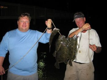 Hamilton Boykin and Daryl Graham took eight flounder and a sheepshead on a gigging trip in the Charleston area.