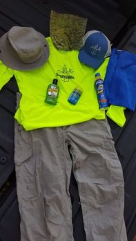 Made with high-tech, lightweight materials, long pants, long-sleeved shirts, a neck gaiter and a hat can keep anglers comfortable and help them avoid a sunburn. Sunscreen is also available in a wide variety of application types.