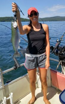 Courtney Carlisle caught this magnum-sized rainbow trout on a summer fishing trip to Lake Jocassee with guide Sam Jones.