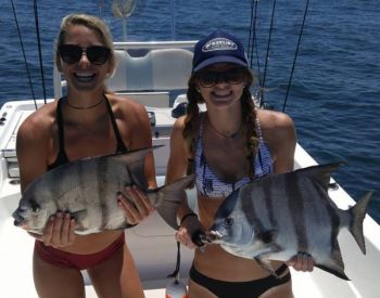 Katy Huber (left) and Becca Irvin (right) caught these two spadefish while fishing with Reel Time Charters out of Folly Beach.