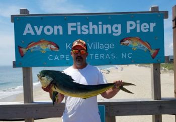 J.R. Clate caught this dolphin off the Avon Fishing Pier. It's the second one ever caught from the Outer Banks pier.