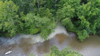 Thousands of gallons of milk spilled into Cove Creek after a truck overturned in the area around Saluda, N.C. Saturday.