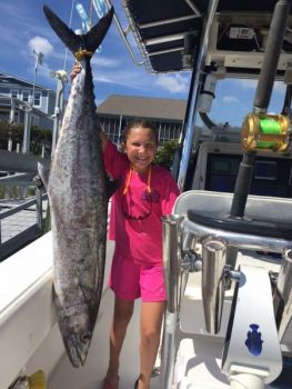 Katelyn Turner was fishing with her parents when she caught this big king mackerel off Oak Island.
