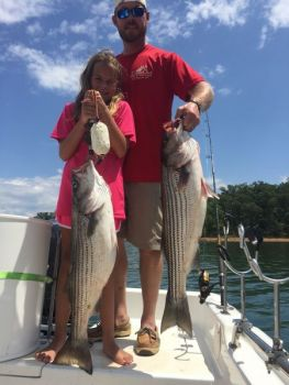 Shelley Kinsley O'Dell and her father, Matt, caught these nice fall stripers at Lake Hartwell.