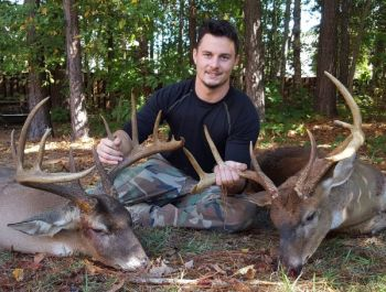 Kevin Ackim killed the 8-point buck (right), and while awaiting help to drag it out, killed the 11-point brute on the left on Oct. 17, 2017 in Lexington County, S.C.