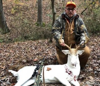 Brian French killed this white 8-point buck in Rockingham County on Nov. 14, 2017.