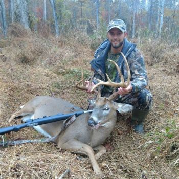 Cody Beaver of Durham, N.C. poses with the 180-pound, 12-point buck he killed on Nov. 5, 2017.