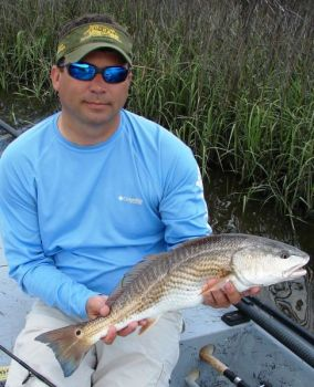March redfish will be in deep holes in the marshes west of Shallotte Inlet, normally feeding around oyster rocks.