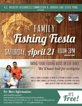 The Family Fishing Fiesta will be held April 21 at Jordan Lake.