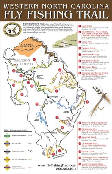 Jackson county maps out a trail of streams for trout fishermen for Nc trout fishing regulations