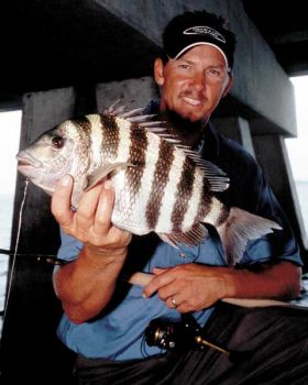 Big sheepshead may weigh from 6 to 8 pounds, so Cronk tries to sight fish for them, turning their heads upward as soon as they hit.